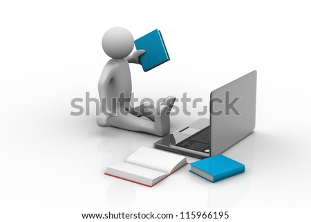 Man studying with laptop and books