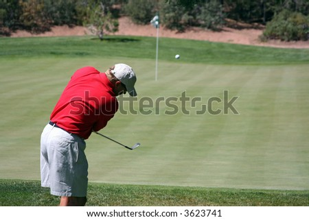 Man successfully chipping golf ball onto green, focus on golfer - stock photo