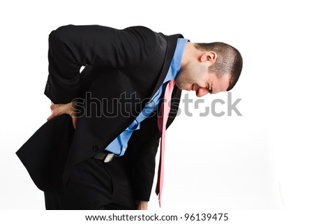 Man suffering for backache. Isolated on white - stock photo