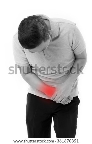 man suffering from wrist joint pain - stock photo