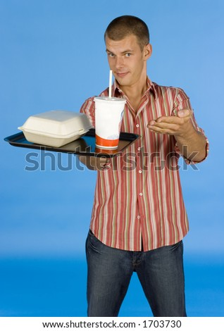 man suggests fast food meal - blue background - stock photo