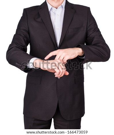 man suit hand watches Isolated on white background