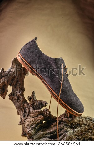 Man summer shoes on retro sepia backgrounds - stock photo