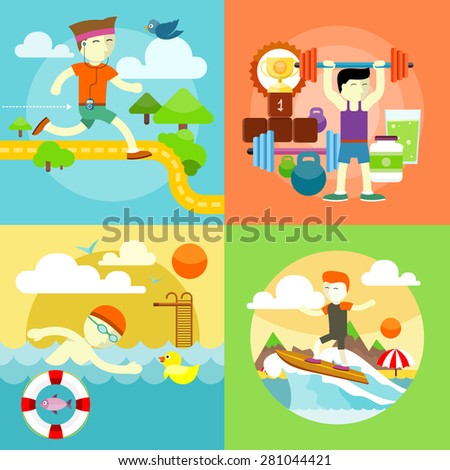 Man surfer on blue ocean wave in tube getting barreled in flat design. Young man swimming front crawl in pool. Happy young man on morning run. Man beginner bodybuilder. Bodybuilding. Raster version - stock photo