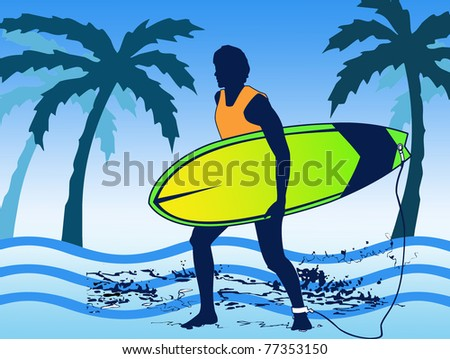 man surfing at the beach - stock photo