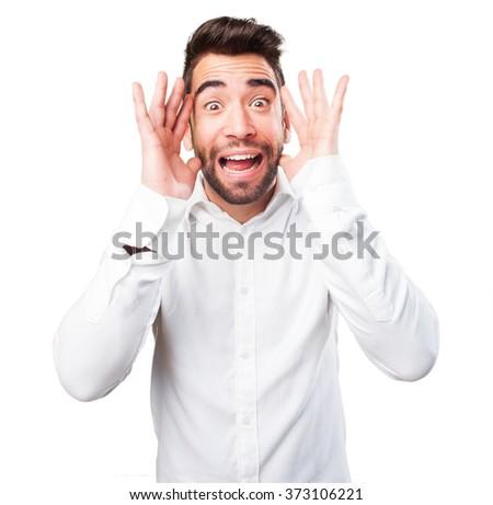 man surprised on white - stock photo