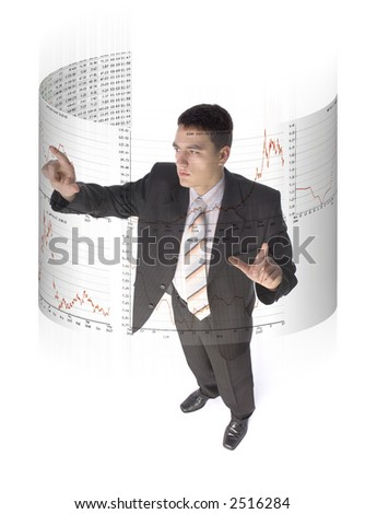 Man surrounded by virtual screen with stock market quotations. White background. - stock photo