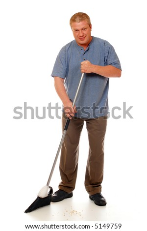 Man sweeping the floor with a home broom.  Isolated on white.