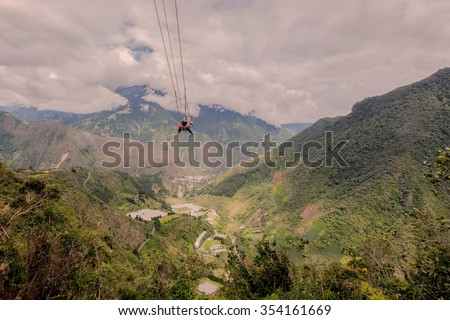 Man Swinging On A Swing, Called Flight Of The Condor, Banos De Agua Santa, Ecuador