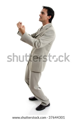man symbolizing victory.. - stock photo