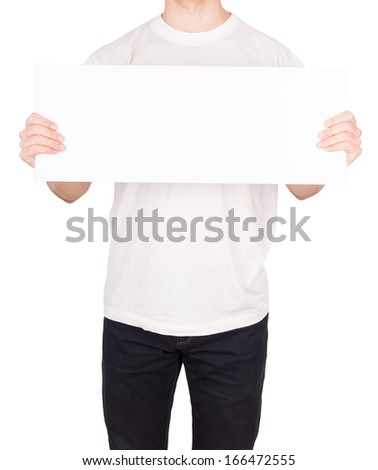 man T-shirt board isolated on white background - stock photo