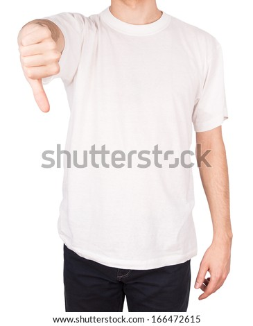 man T-shirt thumbs down Isolated on white background - stock photo
