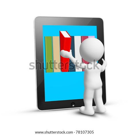 man take book from internet, isolated on white - stock photo