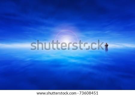 Man taken a picture in surrealistic landscape - stock photo