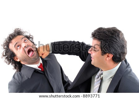 Man taking a businessman's punch on white.