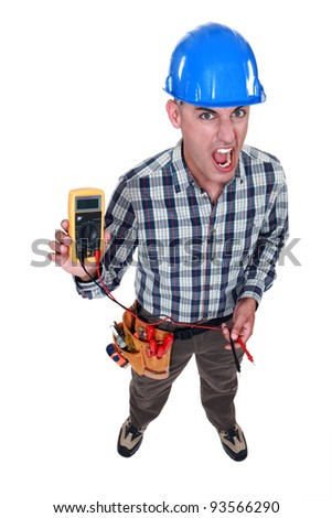 Man taking electrical reading - stock photo