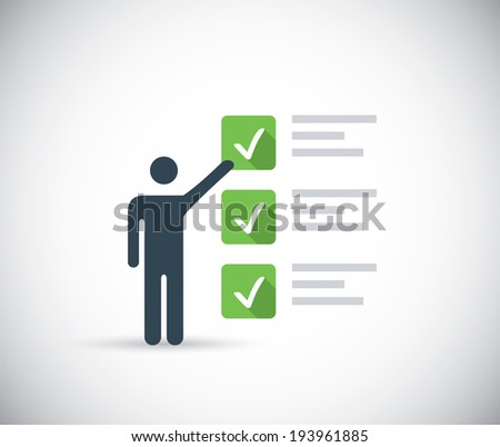 Man taking internet survey for money or other concept - stock photo