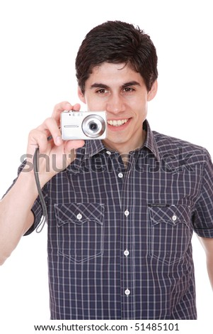 Man taking pictures in studio  camera in hands isolated on white background - stock photo