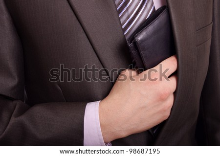man taking wallet - stock photo