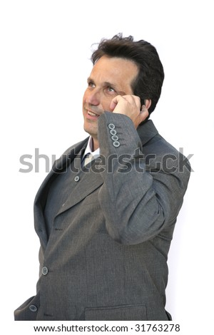 man talk on mobile phone over white background