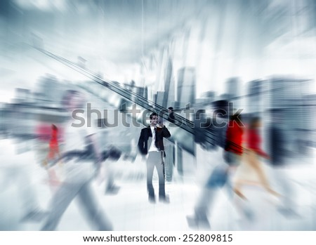 Man Talking On The Phone People Walking Concept - stock photo