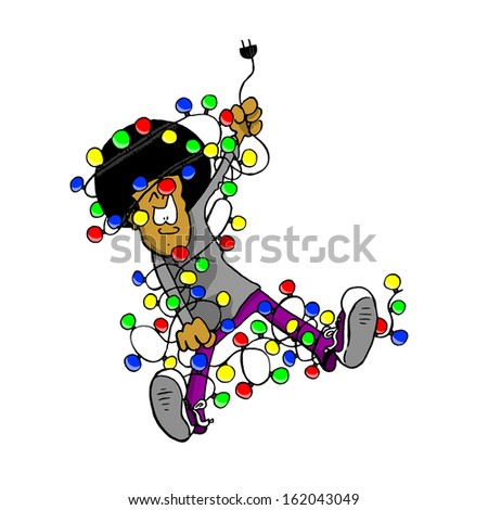 Man Tangled In Christmas Lights - stock photo