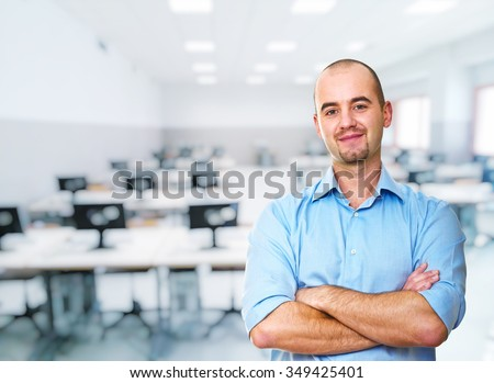 man teacher portrait and class background