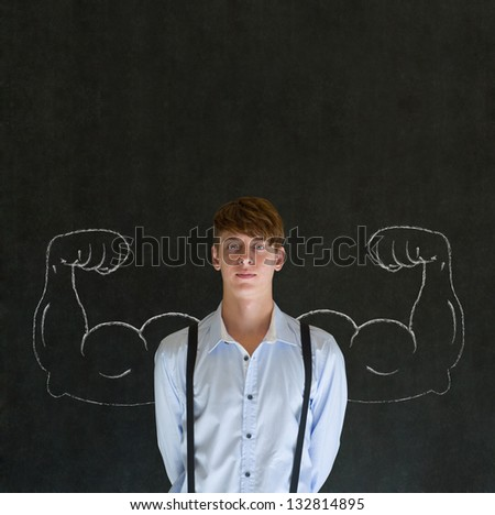 Man teacher, salesman, student or businessman with chalk healthy strong arm muscles for success - stock photo