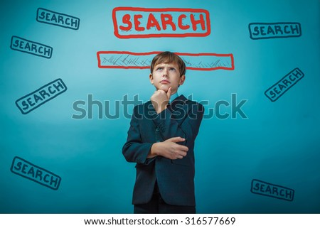 Man teenage boy businessman thinking strategy online Google search Web infographics - stock photo
