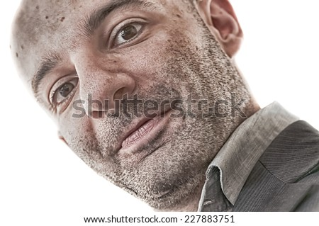 man that look you in white background - stock photo