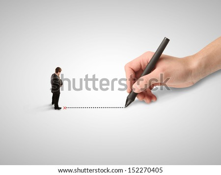 man thinking and hand drawing route - stock photo