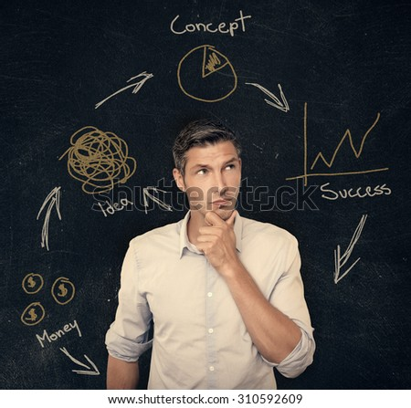 man thinking for business ideas on chalkboard - stock photo