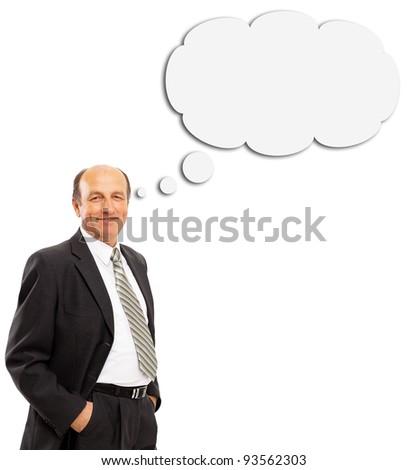 man thinking, isolated on white - stock photo