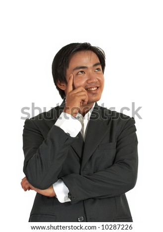 man thinking over a white background - stock photo