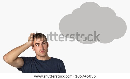 man thinking with a thought cloud