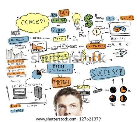 man thinking with drawing business concept - stock photo