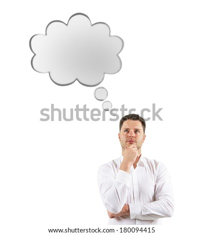 man thinking with speech bubble over head - stock photo