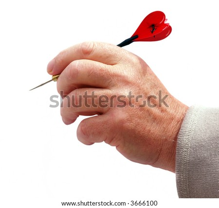 Man thowing dart with an heart symbol of love - stock photo