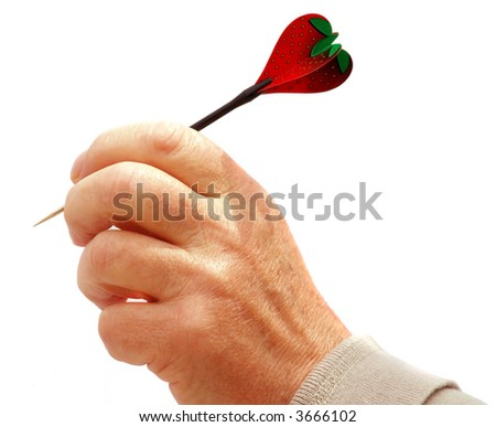Man throwing a strawberry heart  symbol of love - stock photo