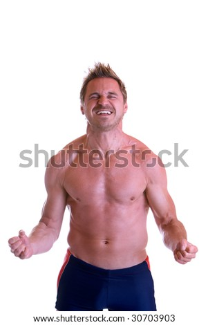 Man tighten all his muscles - stock photo