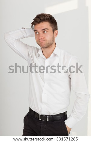 Man tired businessman at his desk