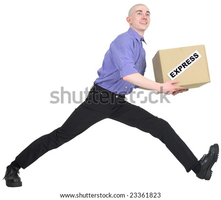 Man to hurry to deliver box on white background - stock photo