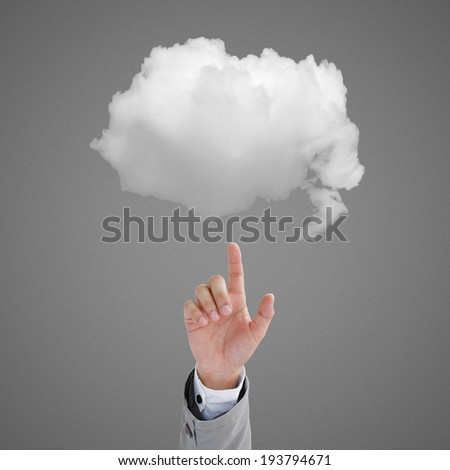 Man touch the cloud - stock photo