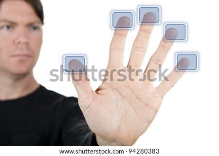 man touching a virtual touch screen