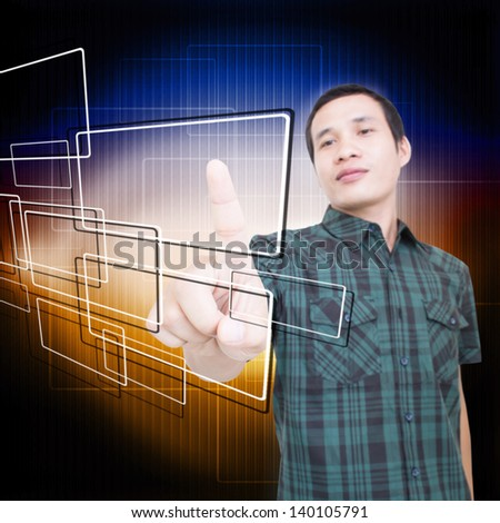 Man Touching Screen - stock photo