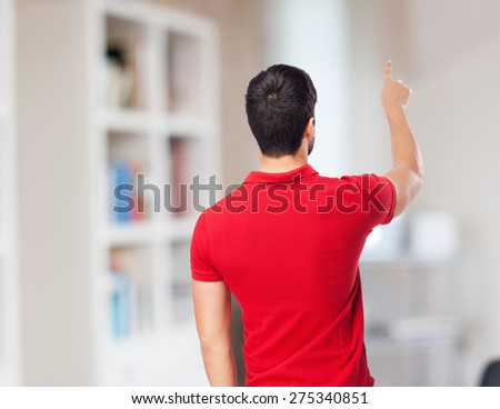 man touching screen gesture - stock photo