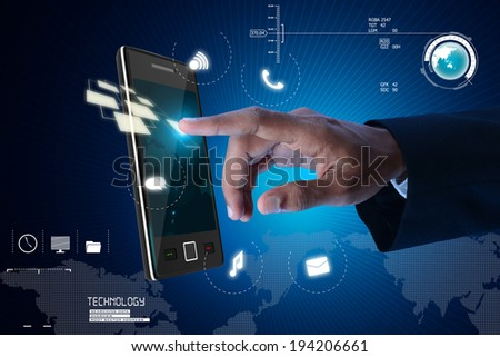 Man touching the digital tablet - stock photo
