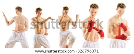 Man training taekwondo set Isolated on white background
