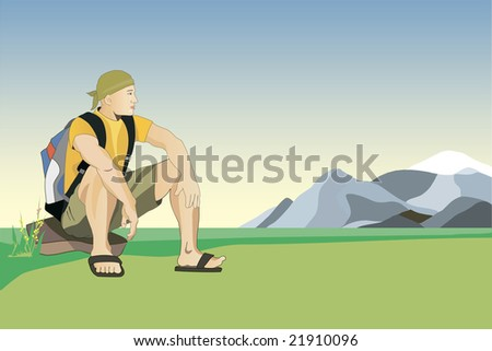 man traveler is siting on the stone and looking a mountain - stock photo