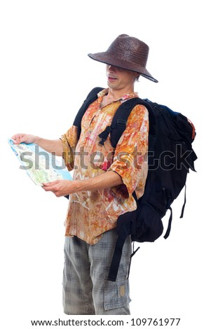 Man traveling with backpack and map, isolated on white background.